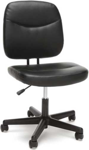 OFM ESS Collection Armless Leather Desk Chair, in Black (ESS-6005-BLK)